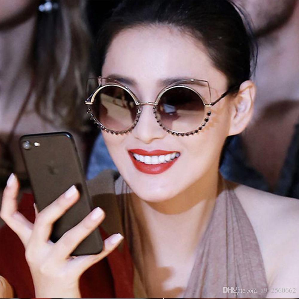 d8da9b7a2b1 Luxury Oversized Diamond Hollow Cat Eye Round Sunglasses Women Sun Glasses  Brand Designer Mirror Shades Pink Goggles Rose Gold Metal Eyeglasses  Sunglasses ...