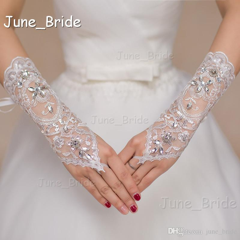 New Style Crystal Lace Bridal Glove Wedding Prom Party Costume Long Gloves Fingerless Below Elbow Length White Ivory Color High Quality