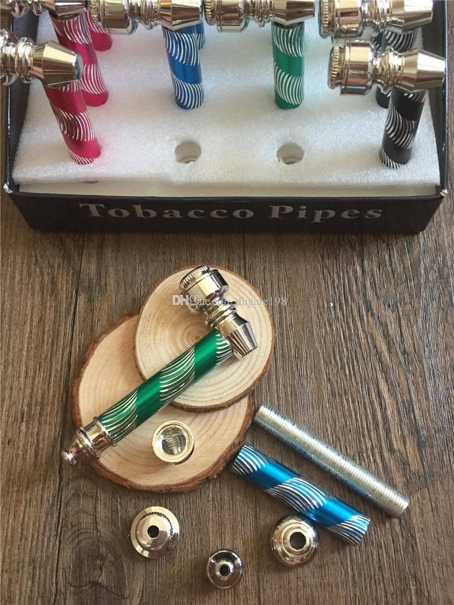 50 pz / lotto metallo all'ingrosso tubi di tabacco colorato fumare erba tubi tubo di metallo mano mix di erbe di tabacco disegni dhl spedizione gratuita