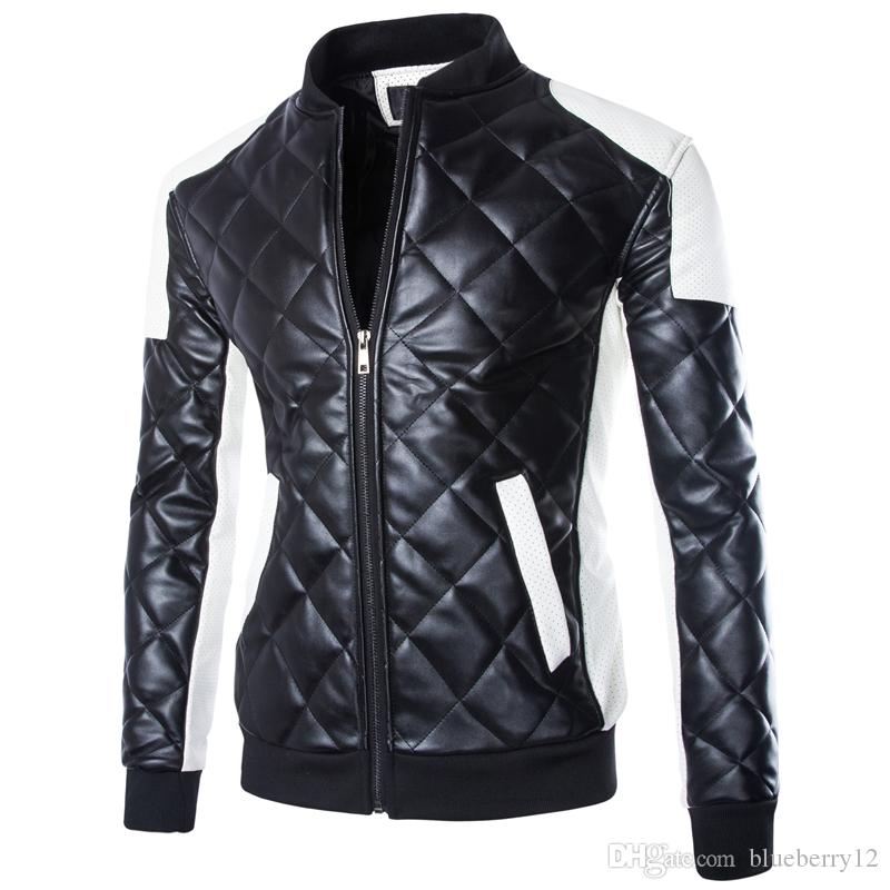 US size Fashion Brand Designer Men Leather Locomotive Jacket Coat Motorcycle Stand Collar PU Jacket Male Outdoor Jacket