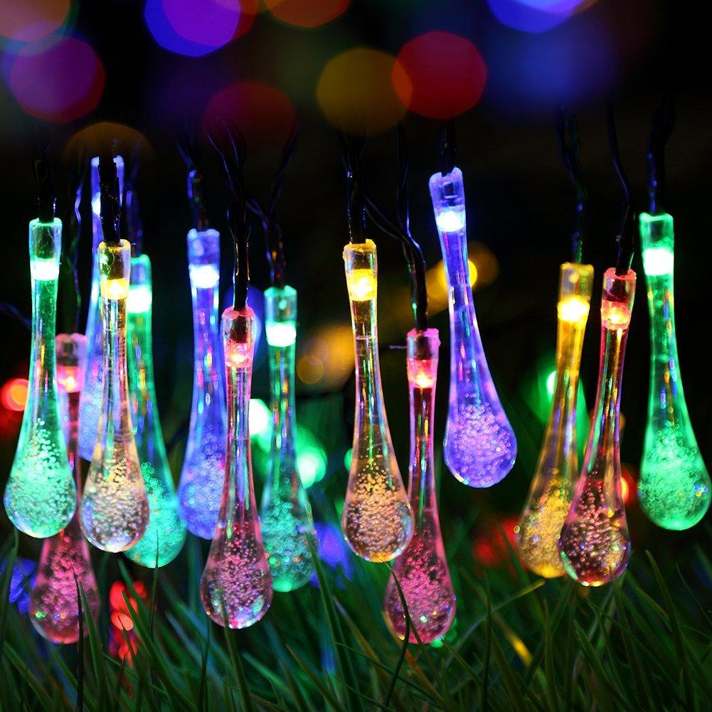 Solar Outdoor String Lights, 20ft 30 Led Water Drop Solar String Fairy  Waterproof Lights Christmas Lights Solar Powered String Lights For Ga  Christmas ...