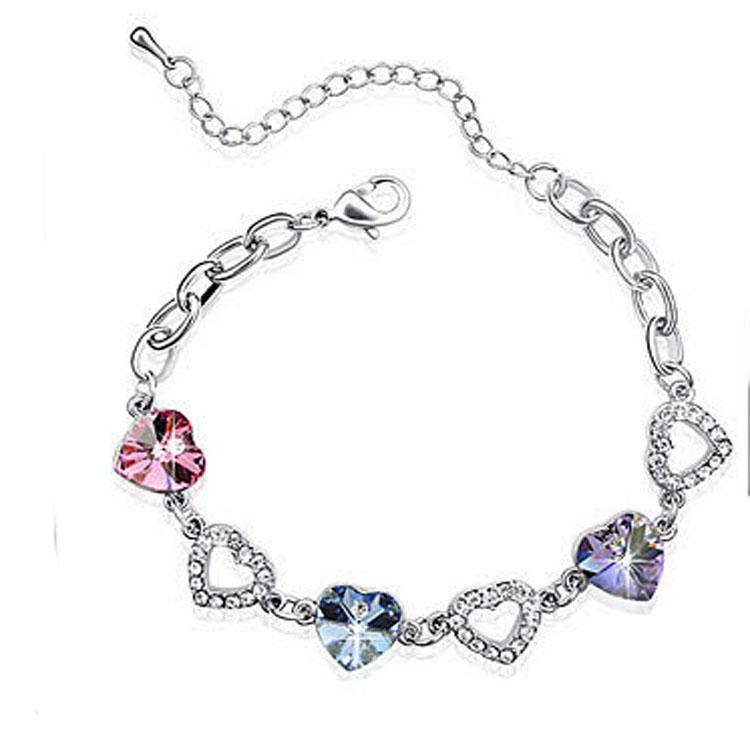 Valentines Gift Austrian Crystal Rhinestone Bracelet Swarovski Crystal  Elements Jewelry Optional Multicolor Mixed Colors Charm Bracelet Charms  Charms For ... 5a0398323a2f