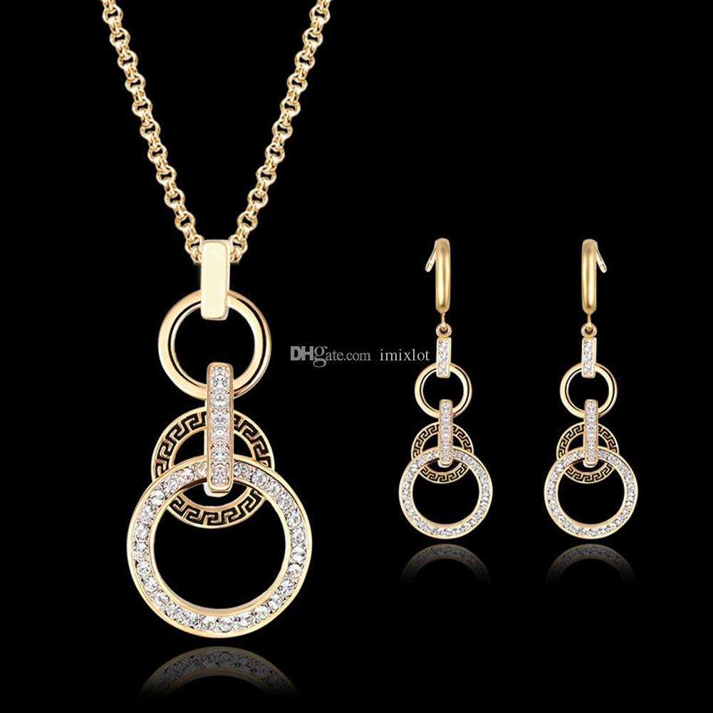 Brand New Womens Crystal Pendant Gold Plated Chain Necklace Stud Earring Jewelry Set [GE06606]