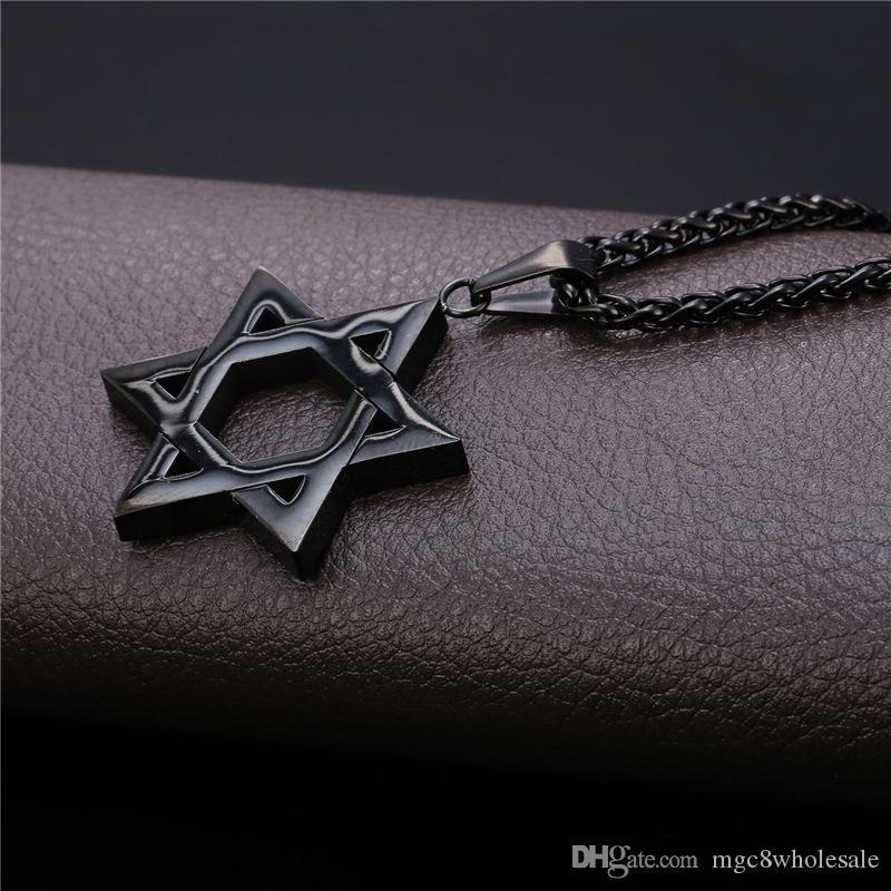 U7 Звезда Давида Магена ожерелье еврейские ювелирные изделия женщины мужчины цепи 18K золото/черный пистолет покрытием из нержавеющей стали Израиль ожерелье подарки