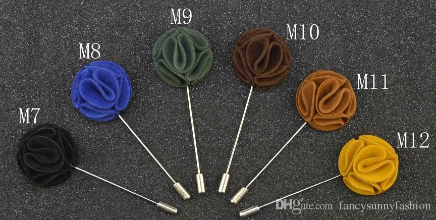 Cheap Fashion Flower Brooch lapel Pins handmade Boutonniere Stick with Double Deer velvet flowers for Gentleman suit wear Men Accessories