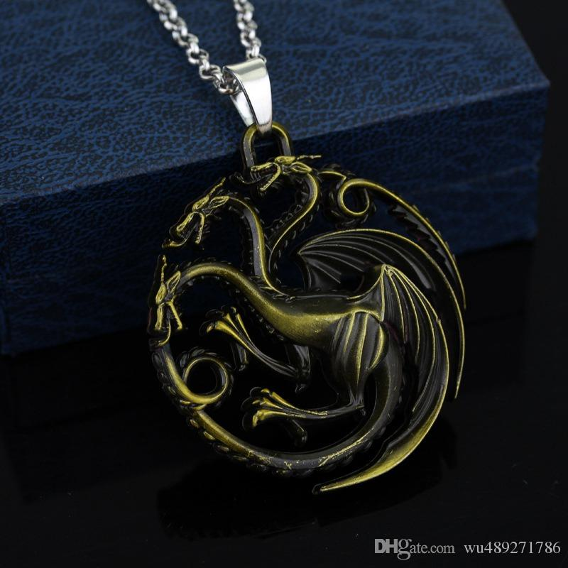 Vintage Game Of Thrones Dragon Pendant Necklace FIRE AND BLOOD TARGARYEN Three Dragon Pendant With Free 50cm Chain