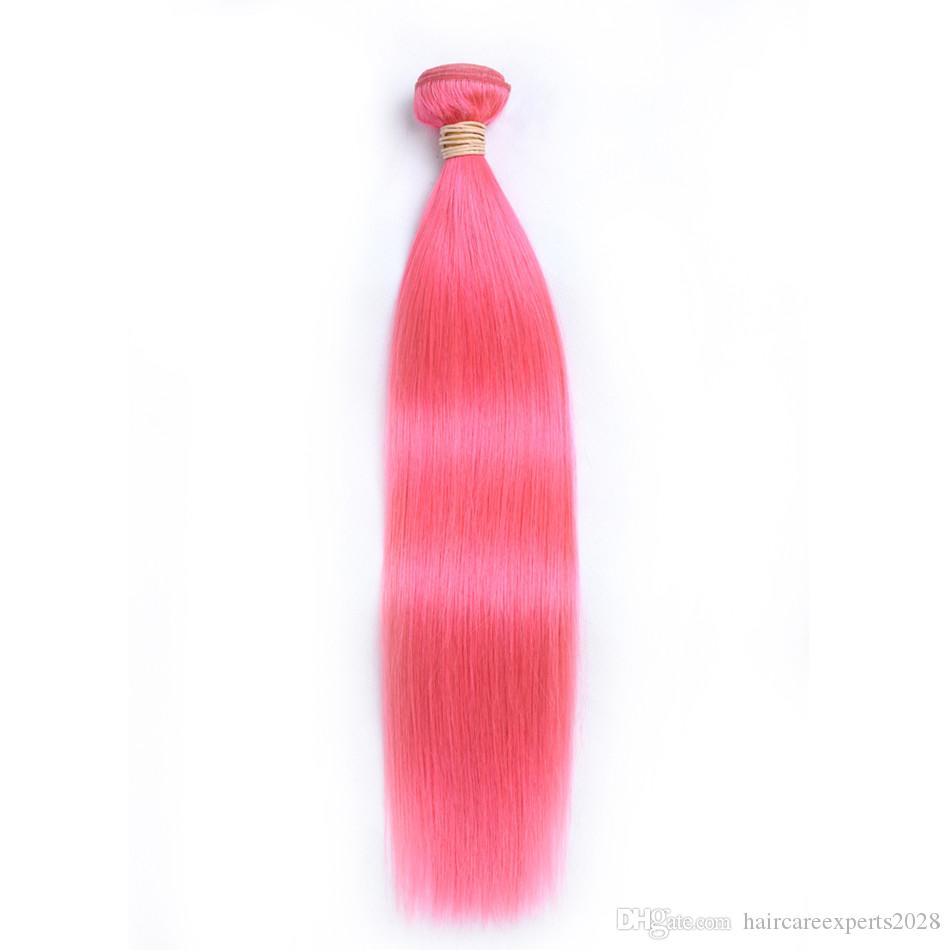 ELIBESS HAIR- Pre-Colored Human Hair Weave Straight 60g Piece Pink Color 3 Pics Remy Hair Bundles 10-24inch