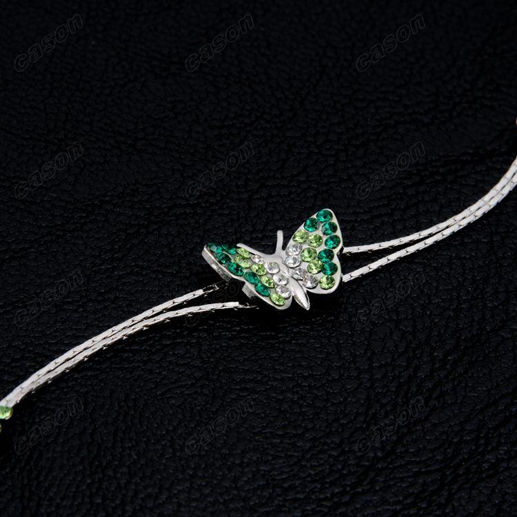 Brand Cason Ellegant Women Jewelry One Butterfly Charm Bracelet Platium Plated Green colour Drop Shipping BRJ-0003