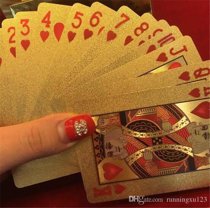 hot 3 designs Gold foil plated playing cards Plastic Poker US dollar / Euro Style / General style D663