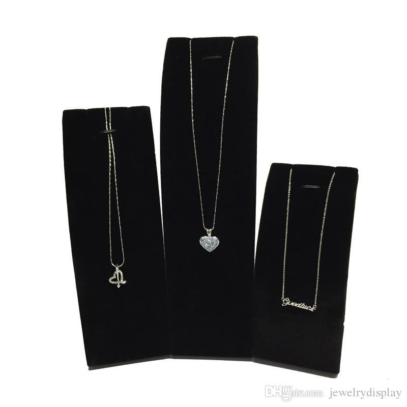 Exhibición elegante de la joyería Apoyos Exhibición colgante Soporte / Soporte vertical Exhibidor de la joyería de terciopelo vertical para Collar