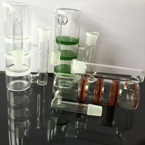 0il rig Aschfänger Perkolator inline ash Fängern 14mm 18.8mm weiß, grün, braun 3 Schichtfilter Glas ashcatcher fit bongs