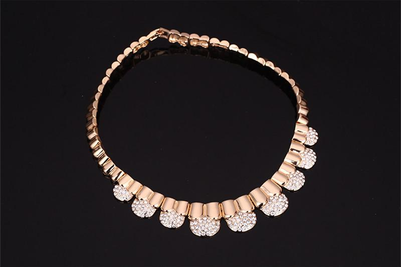Bracelet Necklace Earrings Ring Jewelry Set Luxury Exquisite Women Rhinestone 18K Gold Plated Party Jewelry 4-Piece Set Wholesale JS238
