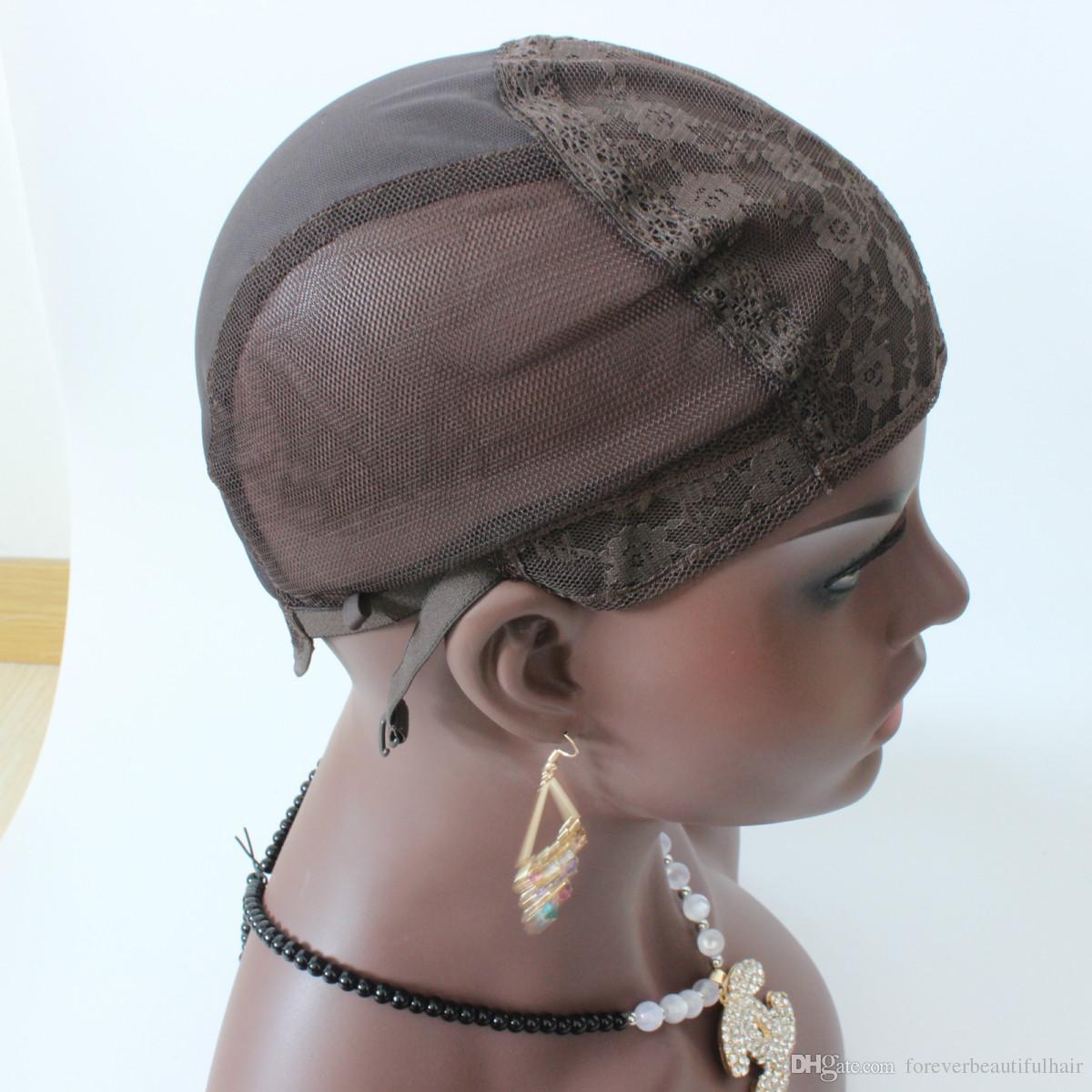 casquette de perruque juive couleur brune S / M / L casquettes de perruque sans colle pour faire des perruques Stretch Lace Weaving Cap Bretelles réglables brun moyen