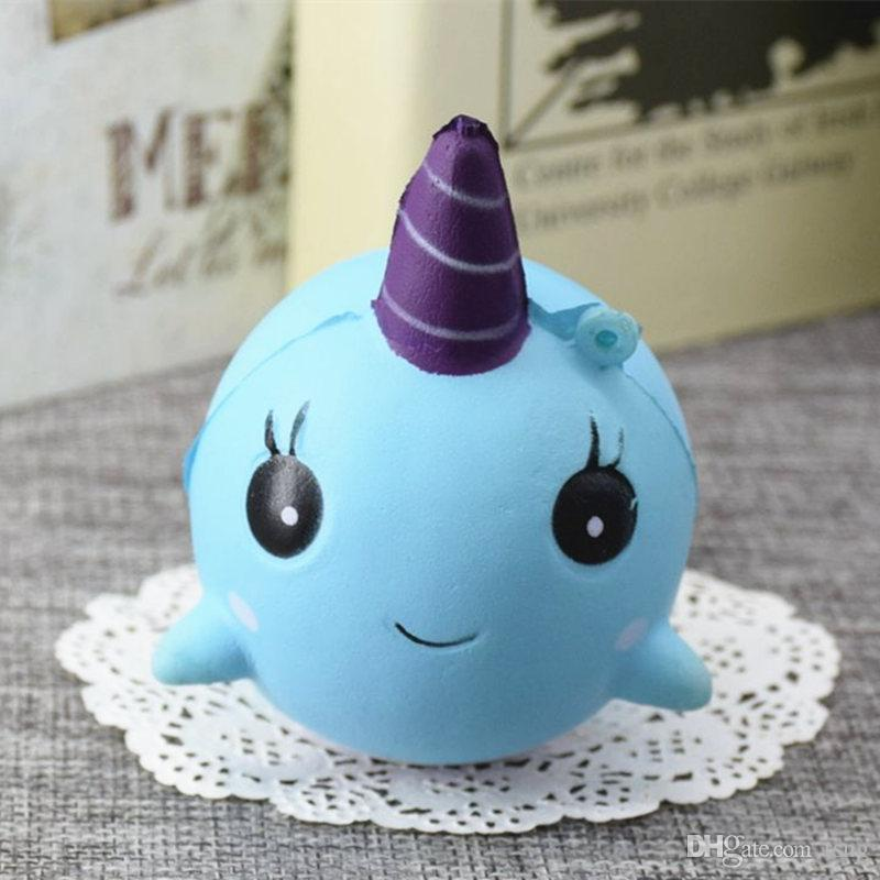 retail unicorn dolphin mobile phone trailer PU Jumbo Squishy Slow Rising Pendant Phone Straps Charms Queeze Kid Toys Cute squishies Bread