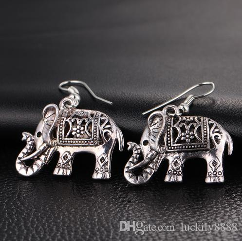 Elephant Long Dangle Earring Fashion Jewelry For Women Style Accessories Hot Sell Earrings Tibetan Silver