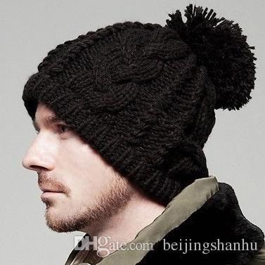 Compre 2016 Otoño Invierno Para Hombre Sombreros De Esquí De Punto De  Gorrita Tejida 0360527748f