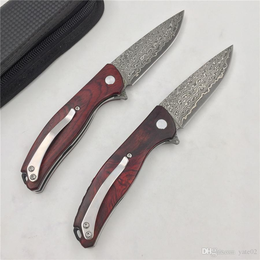 promotional bear forged Damascus steel high hardness outdoor knife travel portable small folding knife fruit knife