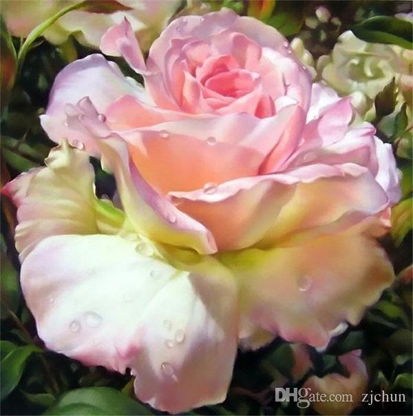 Neue handarbeiten diy diamant malerei kreuzstich kits voller harz runde diamant stickerei mosaik wohnkultur blume rosa rose yx0965