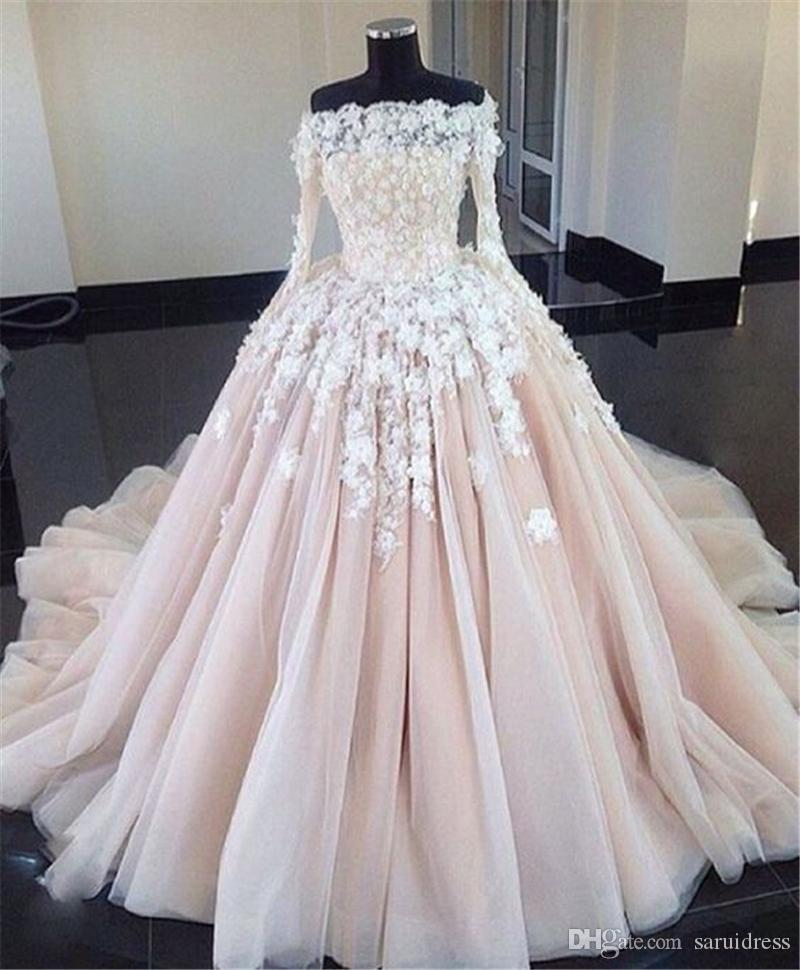 Pink Color Wedding Gown: Off The Shoulder Nude/Pink Color Ball Gowns Long Sleeves