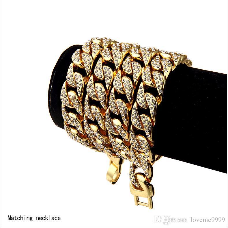 Хип-хоп Мужские Высокое качество 24 К Позолоченные Bling Iced Out CZ Кристалл Куба ремешок для часов Майами Алмаз Кубинские Цепные Браслеты Ожерелья Ювелирные Изделия
