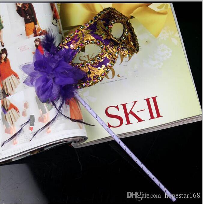 Handgemachte Partei Maske mit Stick Hochzeit venezianischen halben Gesicht Blumenmaske Halloween Maskerade Maske Prinzessin Dance Party Maske 7 Farbe