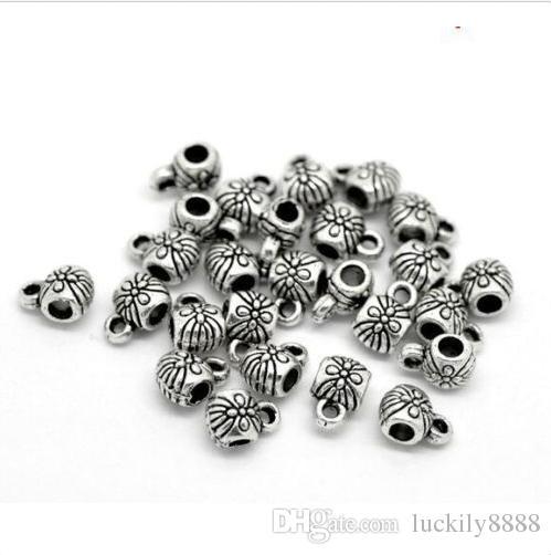 tibétain argent charmes cosses connecteur connecteur espaceurs perles pour la fabrication de bijoux bracelet 9x6mm