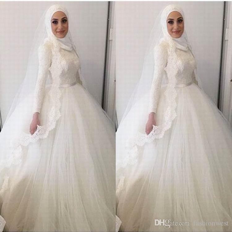 2016 Arabic wedding dress Ball Gown Wedding dresses Arab muslim islamic wedding dress Dubai Arabic Lace Wedding Dresses Bridal