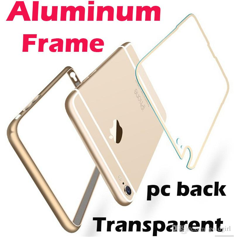 Aluminum Metal Bumper Frame Clear Transparent Acrylic pc Back Hybrid case cover For iphone 6 6s 7 plus