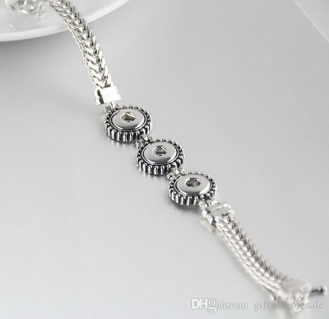 New Silver 12mm Ginger Snaps Antique multi Bracelet chaîne de bricolage 2020 bracelet de mode Chunks 3 boutons