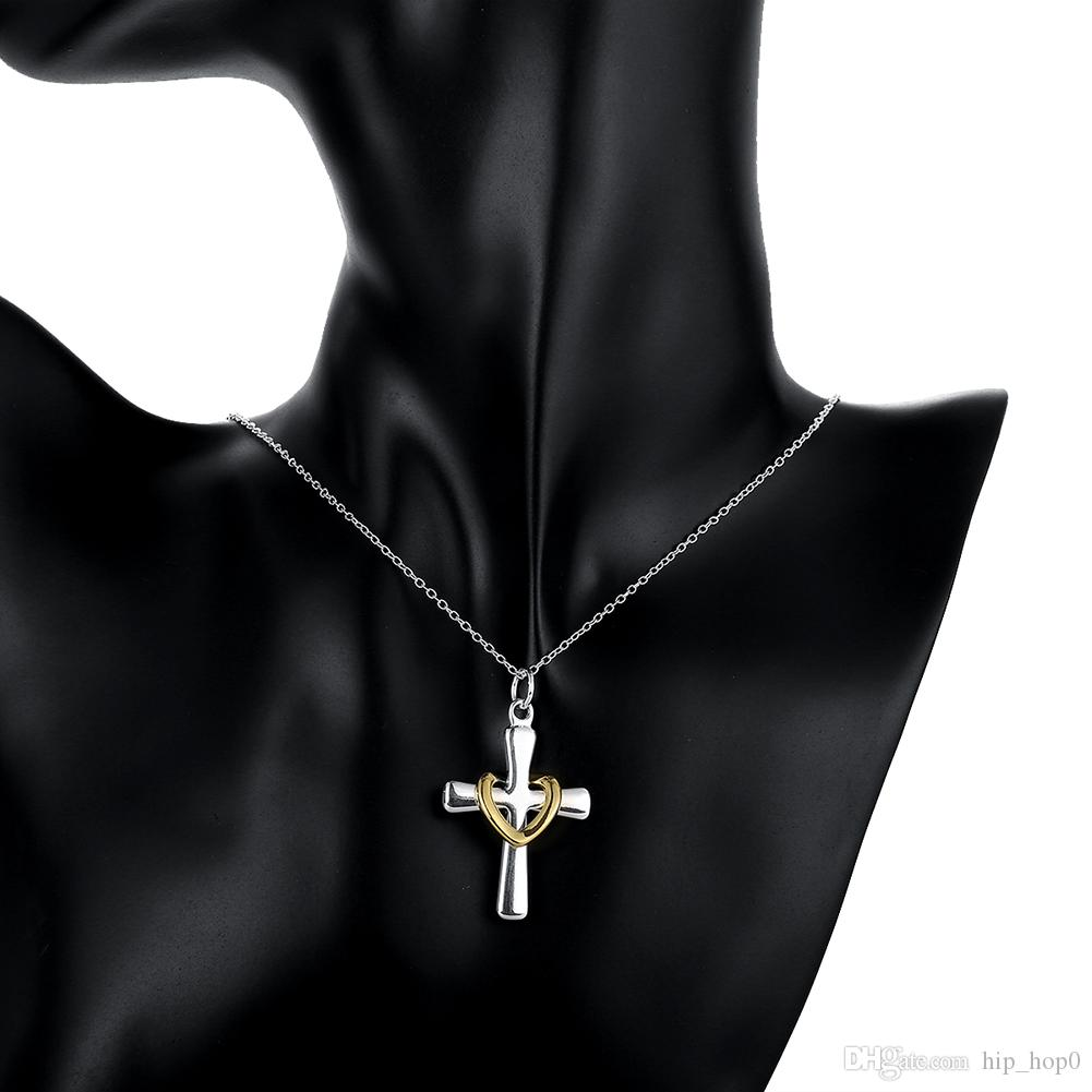 925 Sterling Silver Plated Jewelry Elegant Classic Cross with Heat Pendant Necklace Twisted Rope Chain Women Accessories Beauty Gift