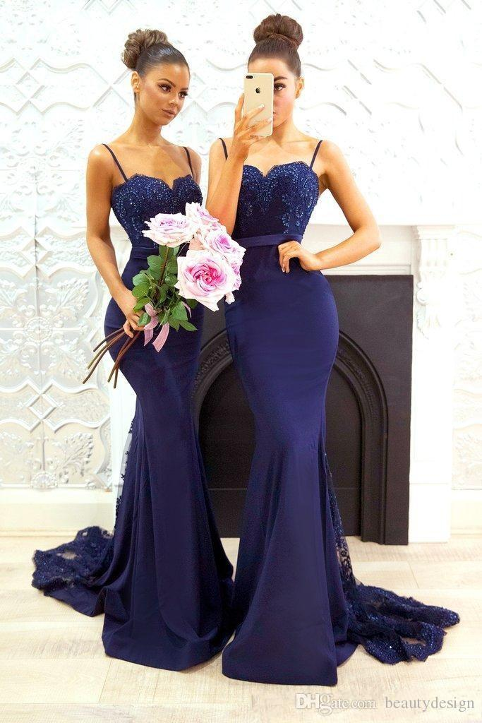 Navy Blue Beaded Lace Bridesmaid Dresses 2018 Spaghetti Straps Satin Mermaid Long Maid of Honor Gowns Sweep Train Formal Wedding Party Gowns