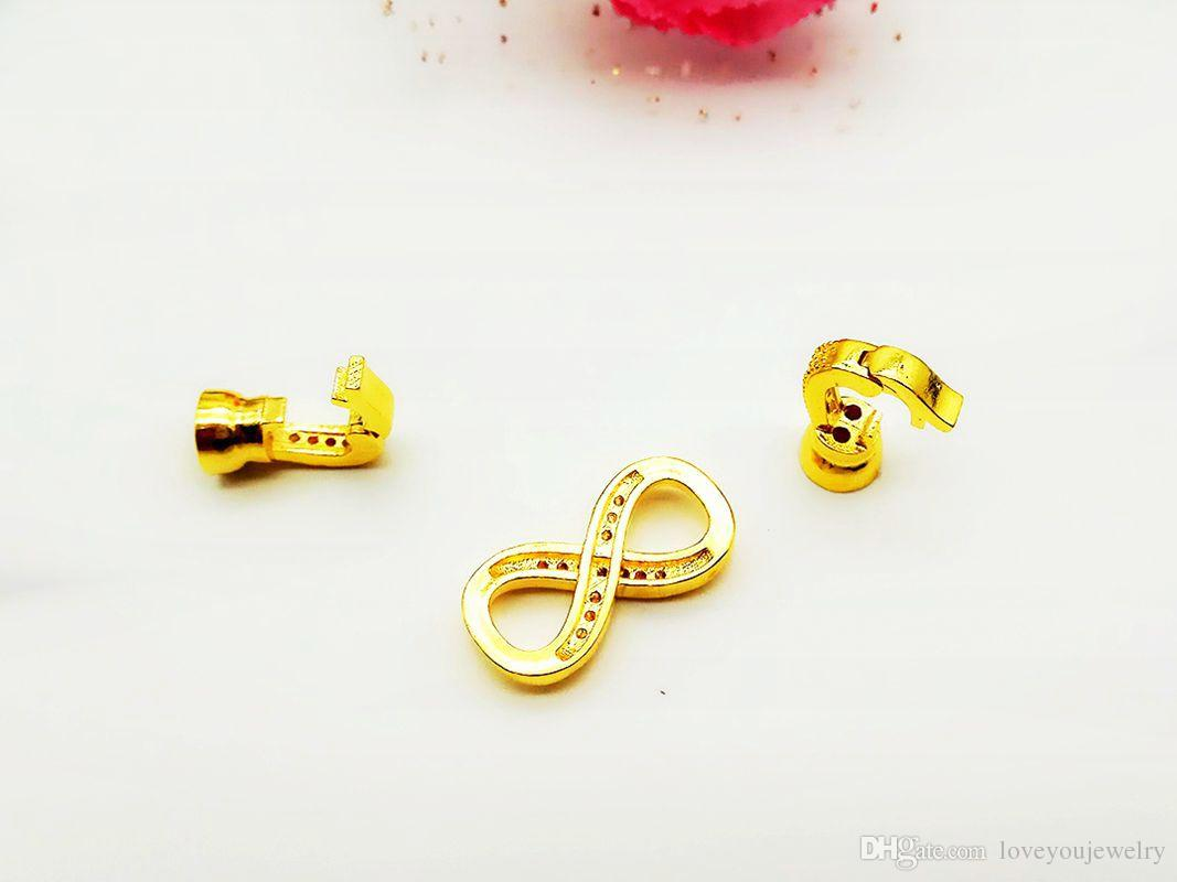 Wholesale Diamond Number Eight Buckle, Gold-Plated Micro Inlay Zircon, Full Drill Connection Buckle For Jewelry Finding