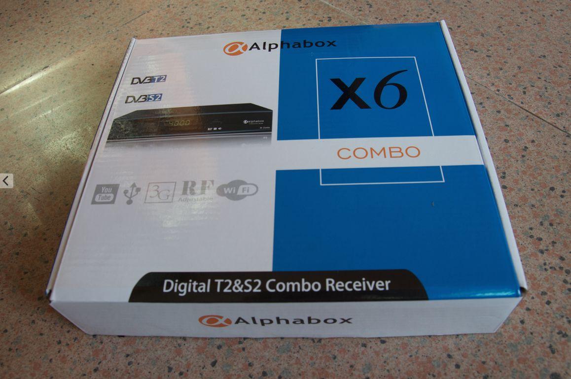 Alphabox Biss+power vu+wifi+3g+2usb+youtube Digital T2&S2 Combo receiver  DVB T2 X6 COMBO FREE SHIPPING