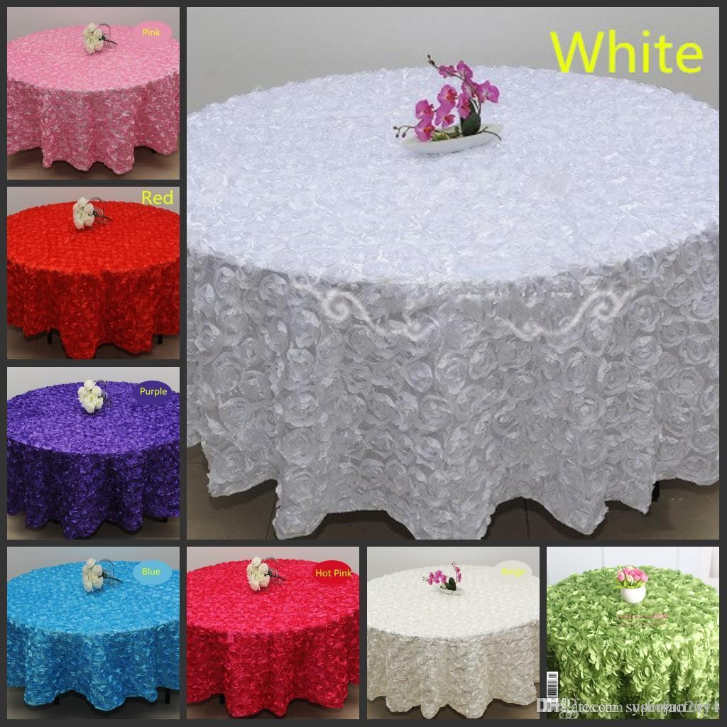 Ordinaire Wholesale White 2.4 M Wedding Round Table Cloth Overlays 3d Rose Flower  Tablecloths Wedding Decoration Supplier Linen Round Tablecloth Buy  Tablecloth Online ...