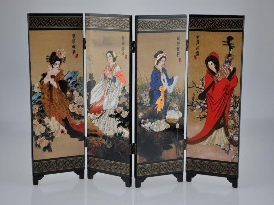 Wholesale cheap Oriental Chinese Golden Lacquer Folding Room Screen Divider Four Great Beauties