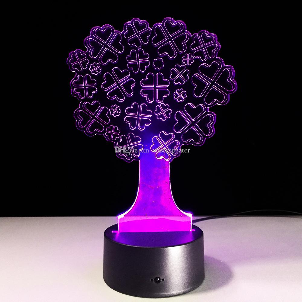 2016 Lucky Tree 3D Optical Illusion Lamp Night Light DC 5V USB Charging 5th Battery Wholesale Dropshipping Free Shipping Retail Box