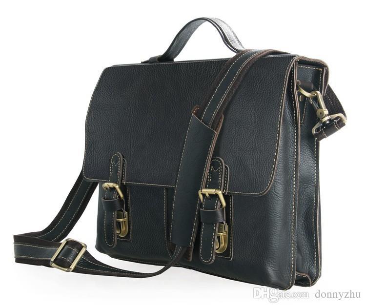 Mens Genuine Leather Briefcase Bag 15 Laptop MacbookPro Bag Single Inclined Shoulder  Bag Black Color 7090 Genuine Leather Bag Briefcase Bag Shoulder Bag ... b0071ba4cc