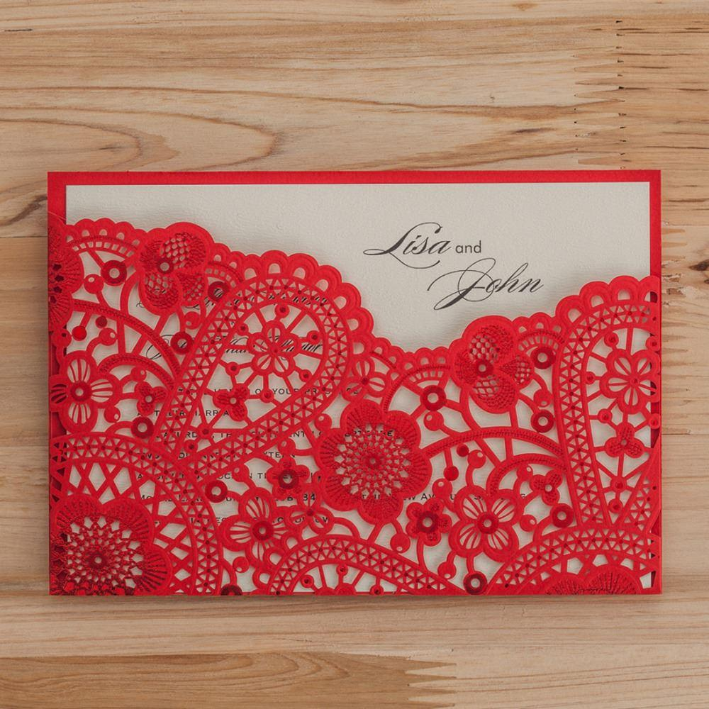 Laser Cut Wedding Invitations Cards Elegant Red Hollow Floral ...