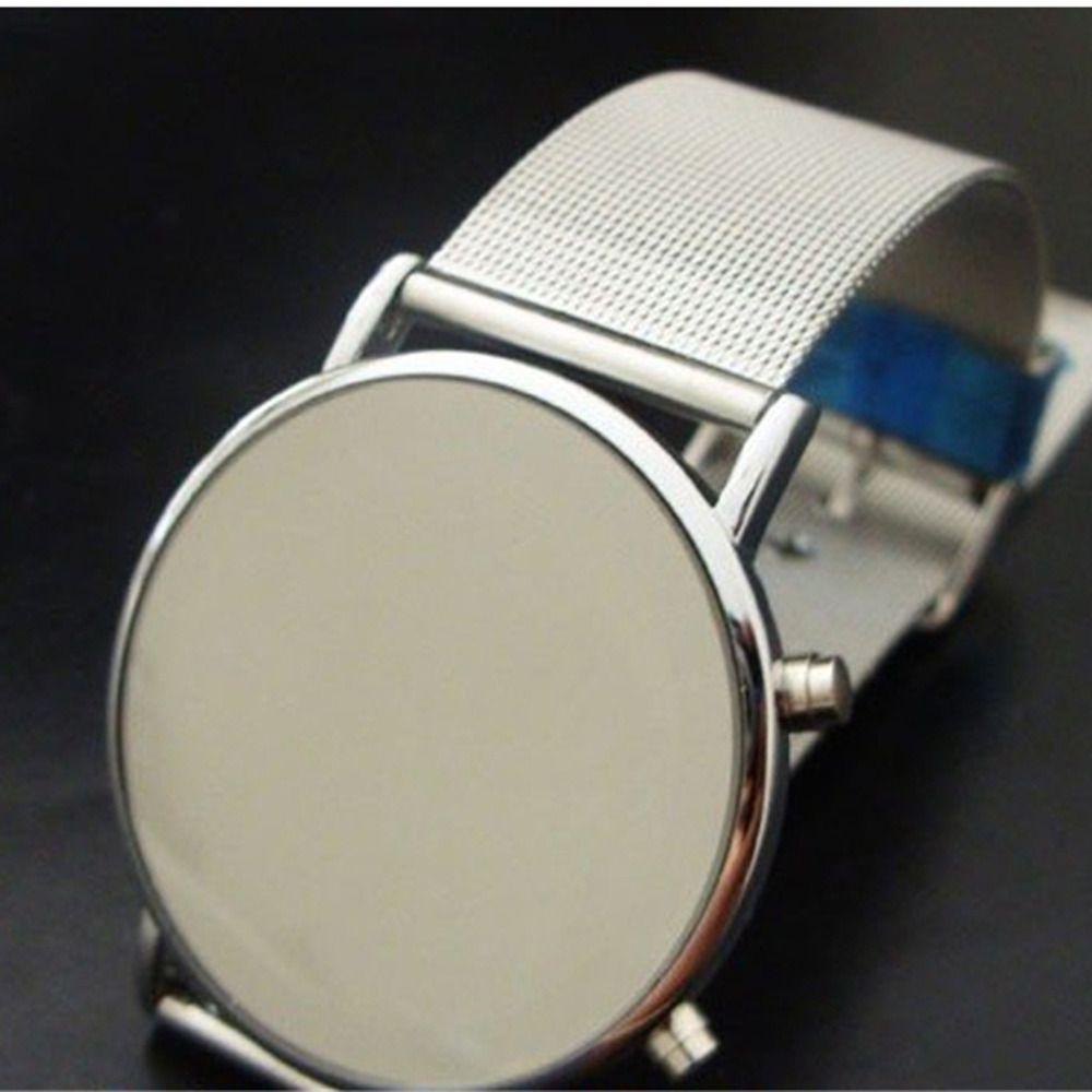 Fashion Cool Men Clock Watch Iron Man Blue LED Watches  Stainless Steel Binary Bracelets & Bangles Wristwatch gift