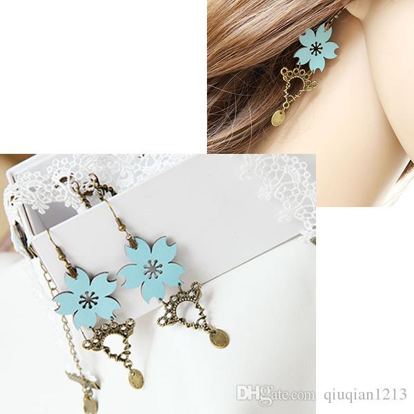 e919e437cbf1d Lolita Fancy Dance Vintage Handmade Flower Cherry Blossom Bronze Alloy  Dangle Earrings Bridal Boho Wedding Party Show Chandelier Earring