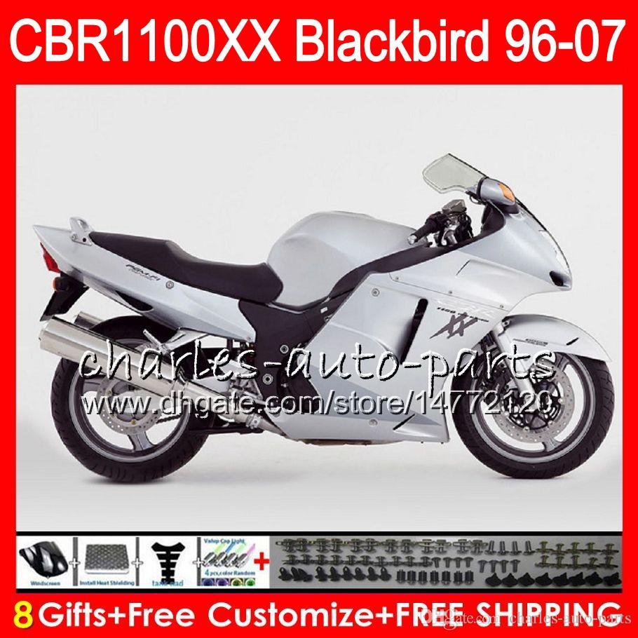 Body For HONDA Blackbird CBR1100 XX white black CBR1100XX 02 03 04 05 06 07 81NO45 CBR 1100 XX 1100XX 2002 2003 2004 2005 2006 2007 Fairing