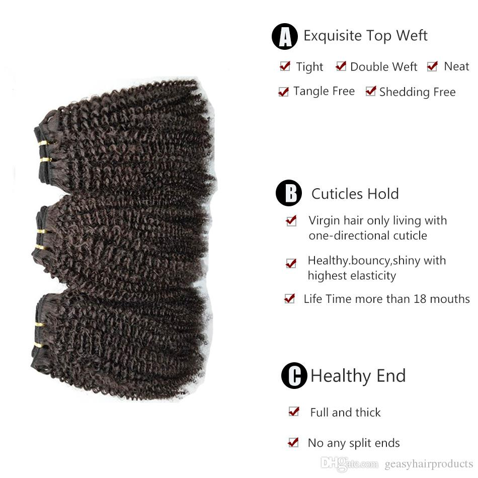 Brazilian Afro Kinky Curly Human Hair Weave With Lace Frontal Closure 130% Density Unprocessed Curly Hair Frontal Closure G-EASY