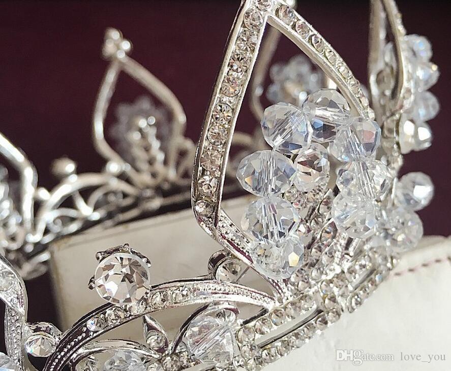 أفضل بيع خمر الفضة الزفاف تيارا الزفاف الشعر التاج عقال اكسسوارات المرأة مجوهرات هيرباند غطاء الرأس