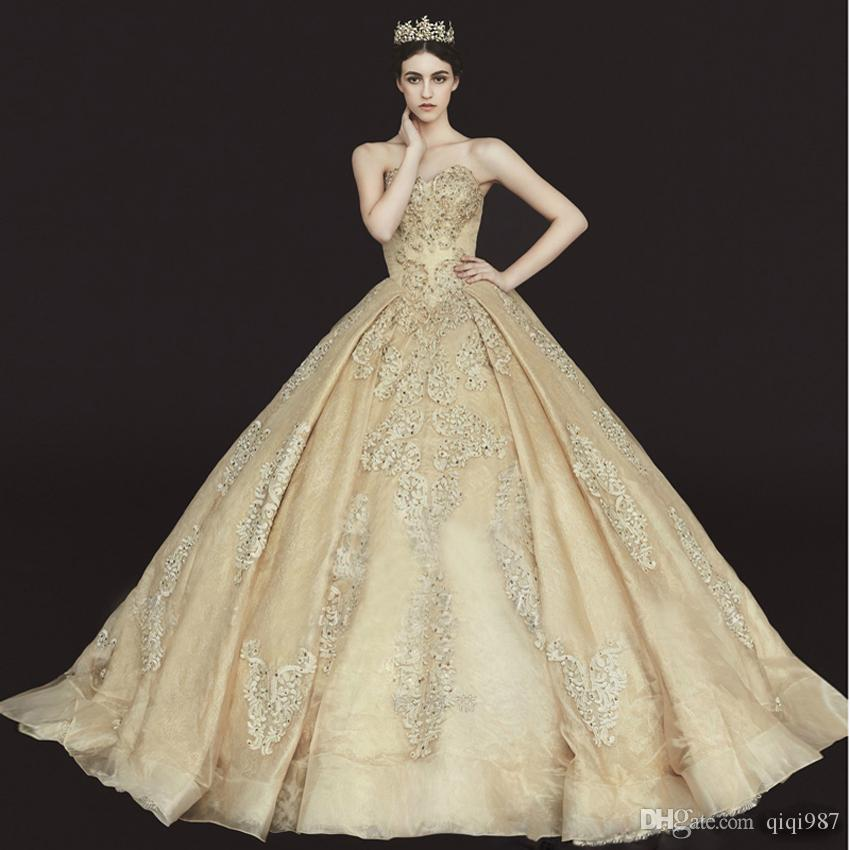 Gold Gowns Wedding: High Quality Elegant Royal Gold Wedding Dresses 2018 New