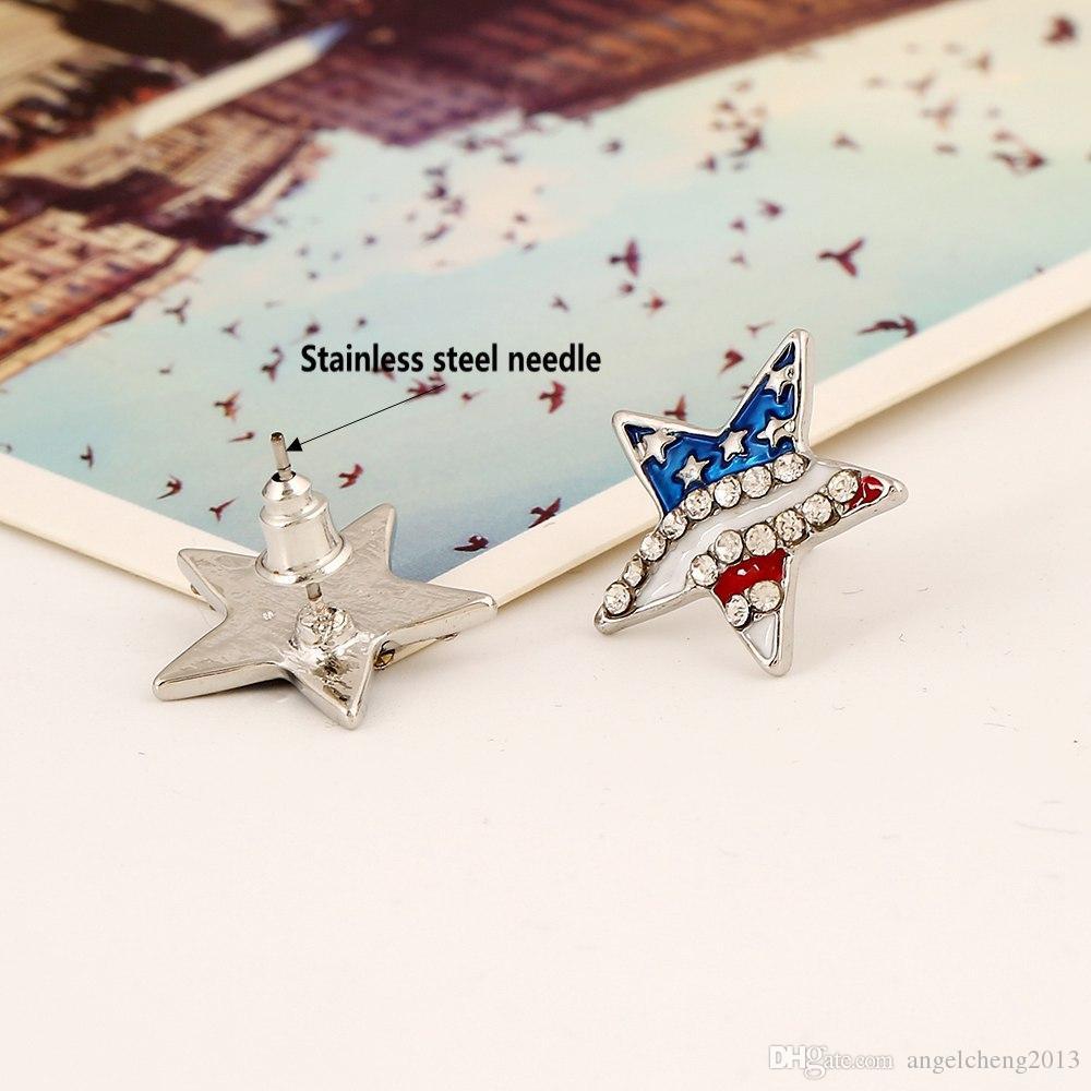 Boucles d'oreilles de bijoux de mode pour les femmes / filles Teen pour Décoration strass Crystal Star Heart_shape Forme Boucles d'oreilles avec le drapeau américain
