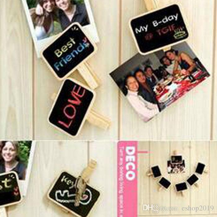 2016 new Lovely Household Wood Clip MINI Blackboard Wooden Clip Small Clamps Message Board