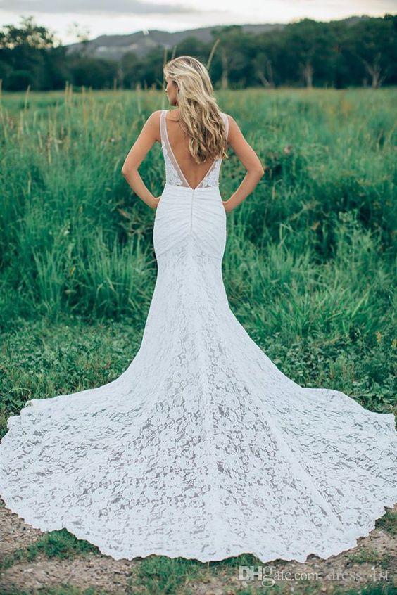 섹시한 깊은 V 넥 등이없는 인어 레이스 웨딩 드레스 새로운 도착 2016 저렴한 컨트리 가든 비치 채플 긴 기차 신부 가운 EN6161