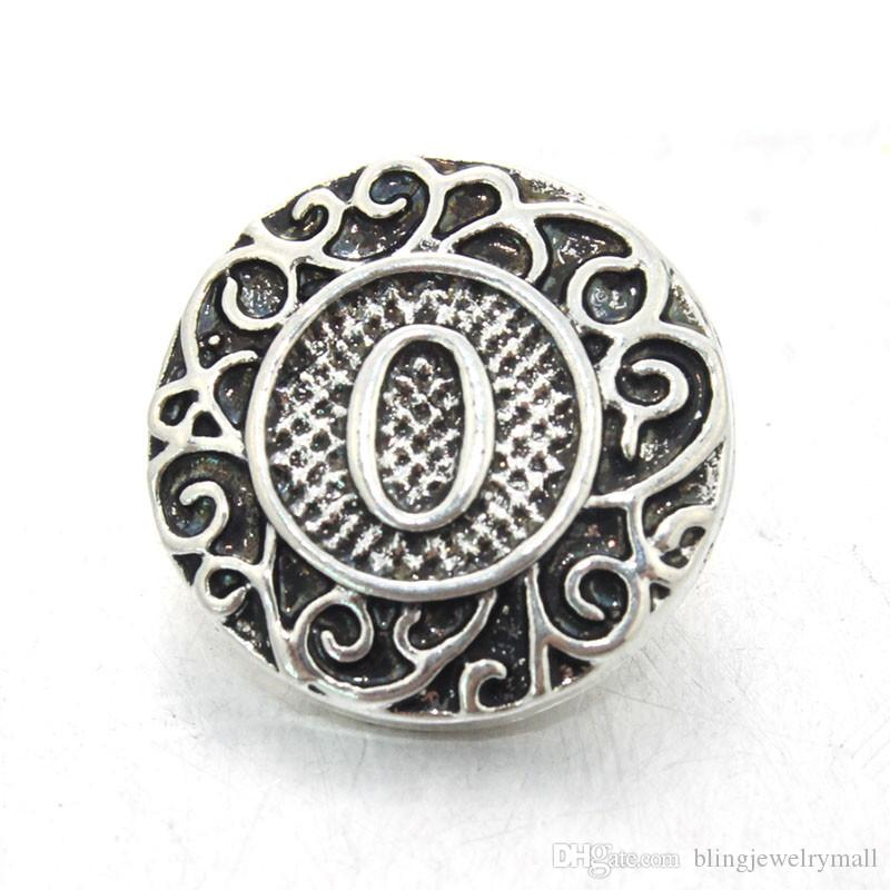 Botón a presión de la joyería botón de plata antigua a presión ajuste botón de presión pulsera inicial A-Z letra del alfabeto 18 mm mezcla al por mayor ZA0026