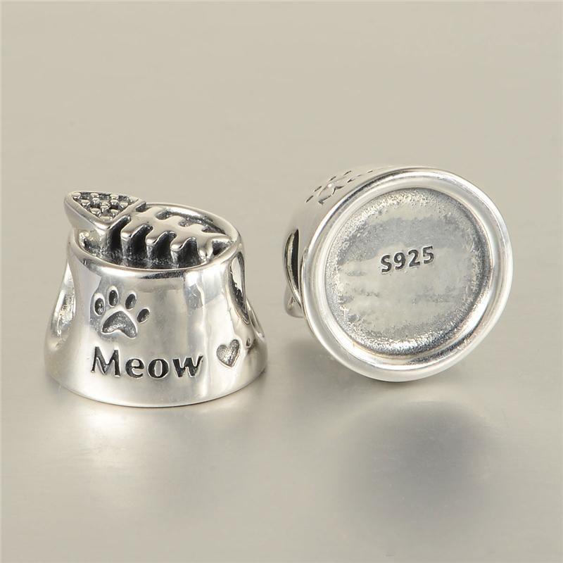 5 조각 / 많이 고양이 그릇 매력 구슬 DIY 스타일 팔찌 H8에 대 한 도매 정통 원래 S925 스털링 실버 적합