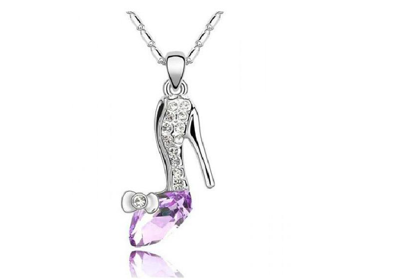 Austria Crystal Shoes Necklaces Dream crystal shoes Pendant High Quality Alloy Silver Plated Necklace Jewelry B146